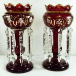Large Pair of Ruby Glass Lustres. Click for more information...