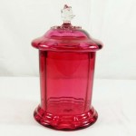 Ruby Glass Victorian Biscuit Barrel. Click for more information...