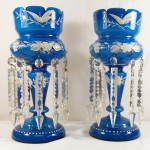 Pair of Victorian Blue Lustre Vases. Click for more information...