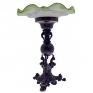 Victorian Centerpiece with Green Art Glass Bowl. Click for more information...