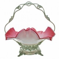 Large Victorian Silver Plate and Pink Art Glass Basket. Click for more information...