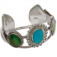 Native American Silver and Turquoise Bracelet. Click for more information...
