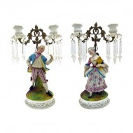 Pair of Lady and Gent Porcelain Candelabra Lustres. Click for more information...