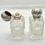 Pair of Sterling Silver Hinge Top Perfumes.. Click for more information...