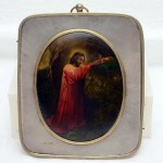 Russian Silver Icon. Painted on Mother of Pearl Shell. Click for more information...