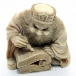Japanese Scholar Ivory Netsuke. Click for more information...