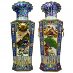 An Impressive Large Pair Chinese Cloisonne Vases. Click for more information...